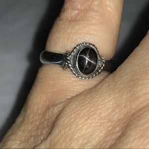 Vintage Artisan Sterling Black Star Sapphire Ring